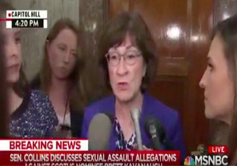 Collins on Kavanaugh Allegations: I Want Both the Nominee, His Accuser to Testify Under Oath